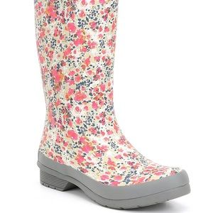 Shoes - Floral Rain Boots in PINK